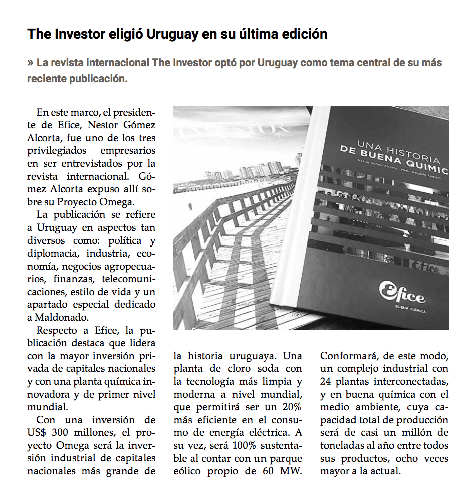 Efice destacada por la revista The Investor