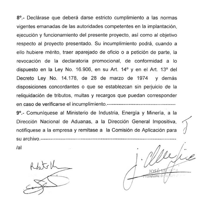 FIRMA DE DECRETO DEL PODER EJECUTIVO DECLARANDO DE INTERÉS NACIONAL EL PROYECTO OMEGA POR PARTE DE MIEM.